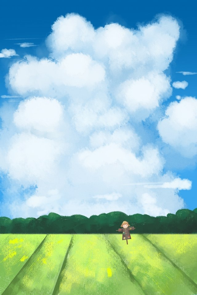 field white clouds scarecrow sky llustration image illustration image