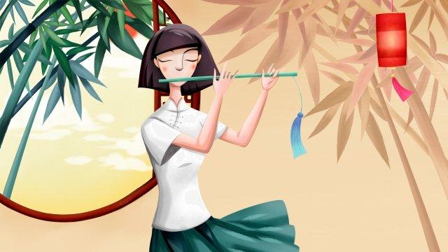 橫笛樂器音樂美麗 插畫素材 插畫圖片
