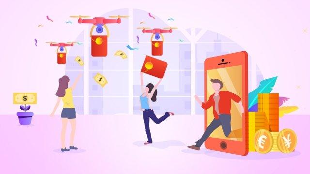 градиент иллюстрации финансового красного конверта Ресурсы иллюстрации Иллюстрация изображения