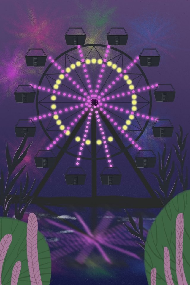 fireworks ferris wheel night amusement park llustration image