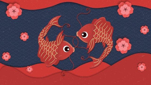 peixe tem peixe todos os anos primavera festival ano novo Material de ilustração