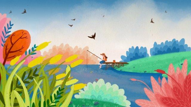 fishing colorful hand drawn spring spring tour, Lake Water, Grassland, Diaoyutai illustration image