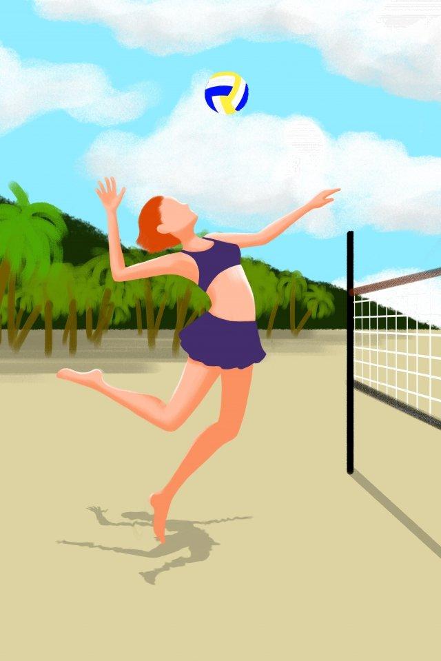 fitness beach volleyball jump, Volleyball Net, Coconut Tree, Teenage Girl illustration image