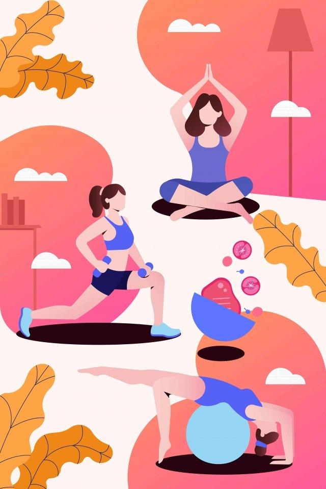 フィットネスモーションヨガトレーニング イラスト素材 イラスト画像