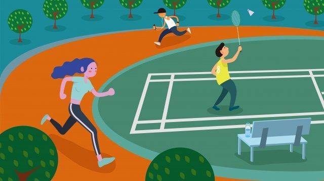健身跑早晨鍛煉青年 插畫素材 插畫圖片