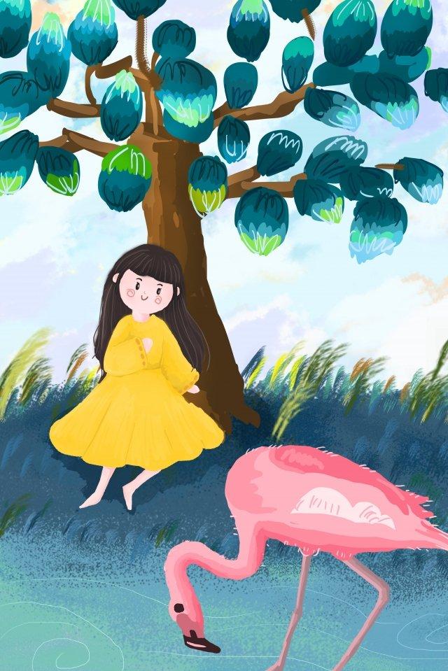 Flamingo de humanos e animais Flamingo Pessoas Árvore River Pastagem Sky Azul Vermelho Amarelo Ilustração CaladoFlamingo  De  Humanos PNG E PSD illustration image