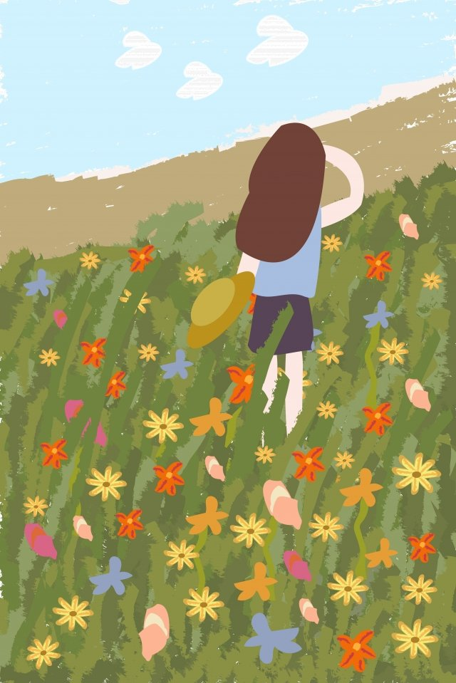 flower flowers plant grass, Grass, Girl, Hat illustration image