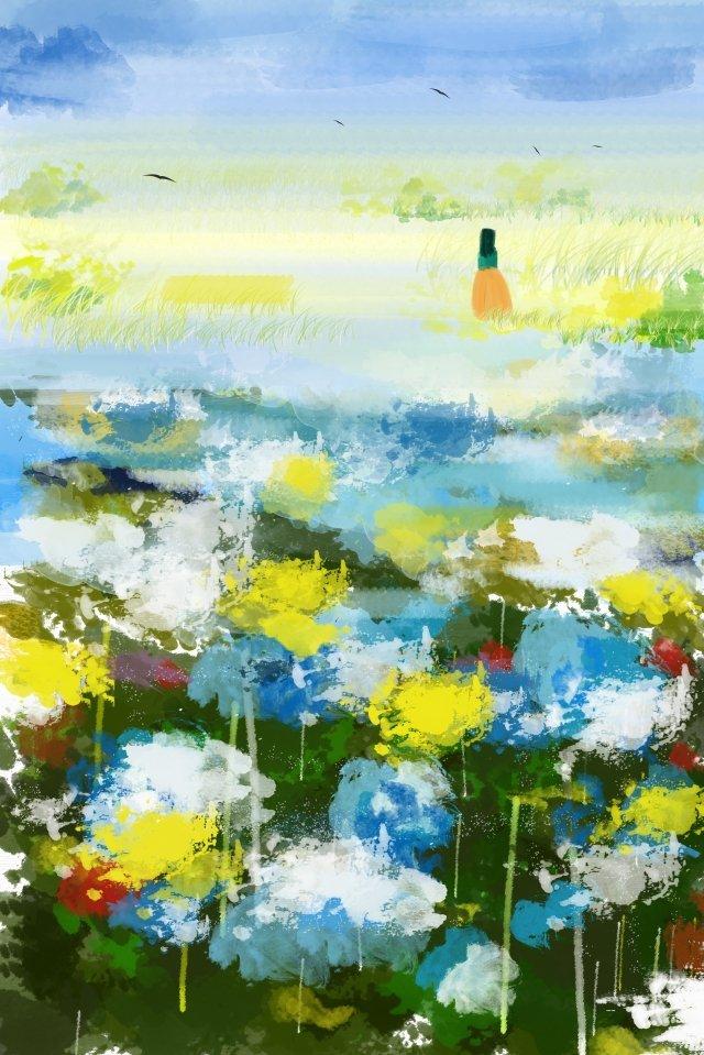 फूल समुद्र गौचे नीले आकाश फूल चित्रण छवि