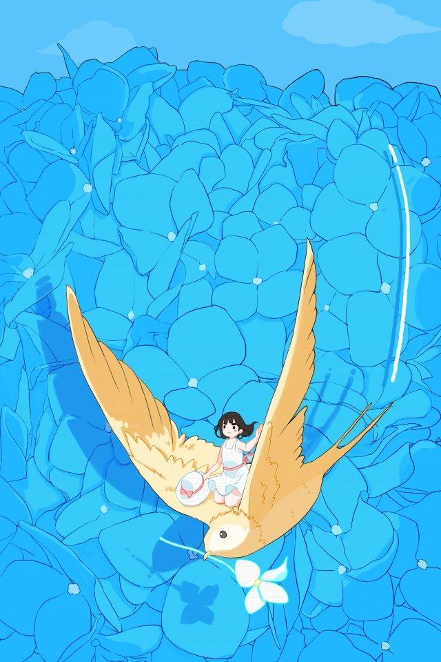 flower sea swallow hydrangea white skirt girl illustration image