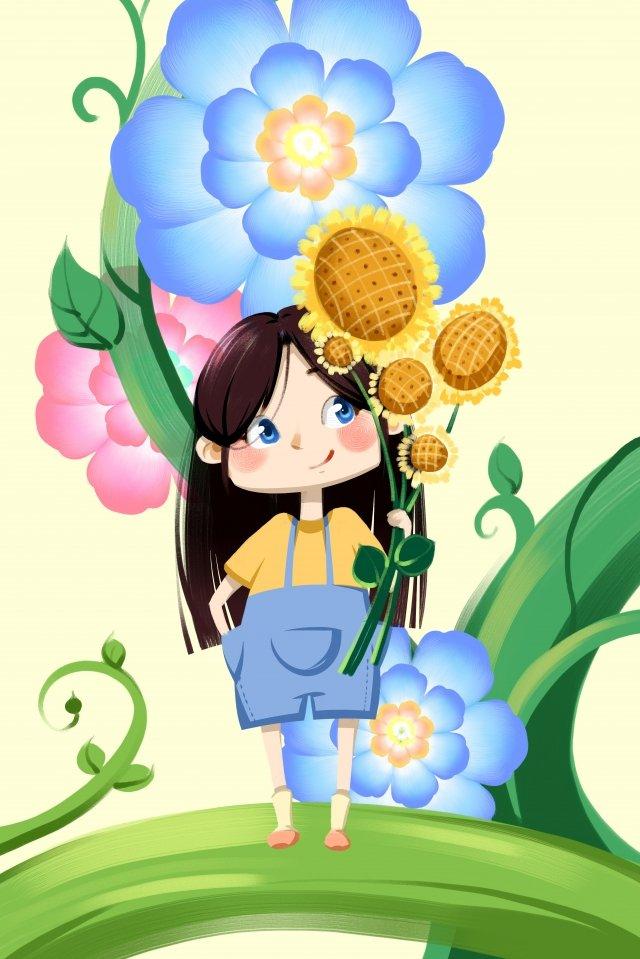 फूल लड़की सूरजमुखी उज्ज्वल चित्रण छवि चित्रण छवि