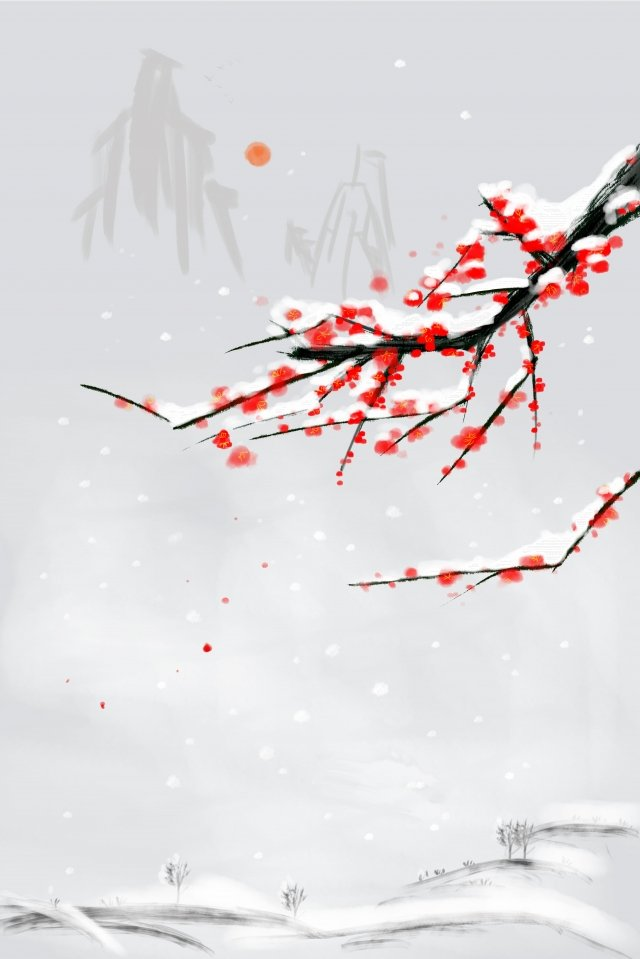 花イラスト赤梅古代 イラスト素材