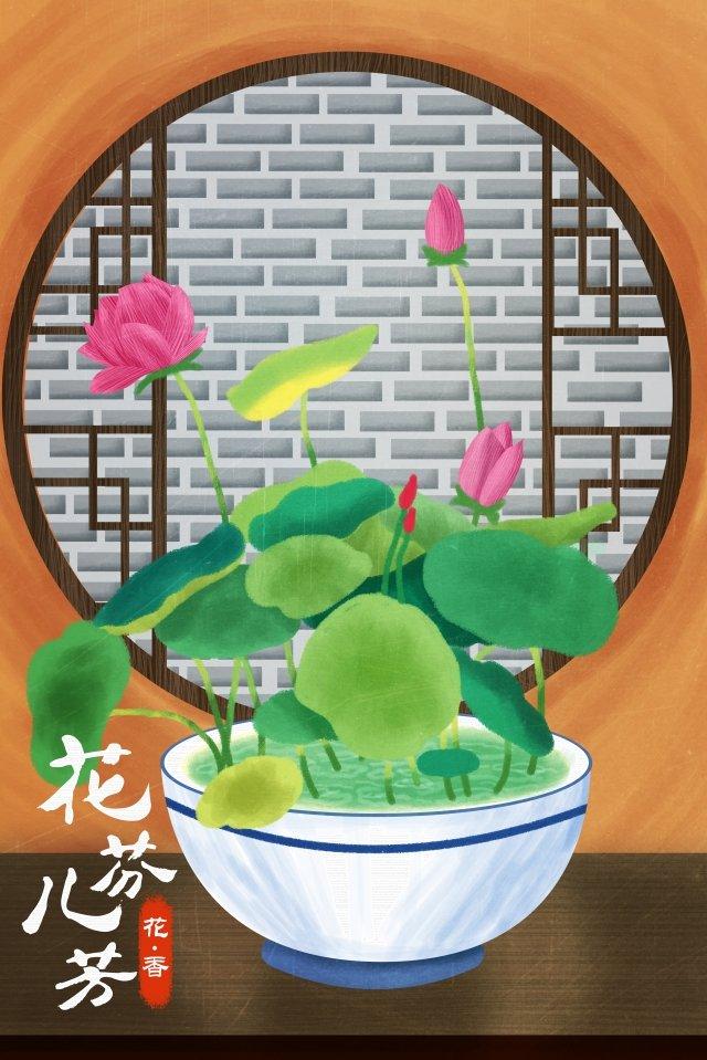 花蓮蓮の葉手描きの蓮の葉 イラスト素材 イラスト画像