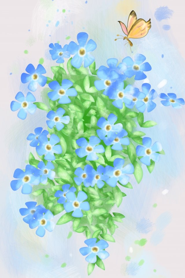 flowers plant blue flower natural, Hand Painted, Illustration, Flower illustration image