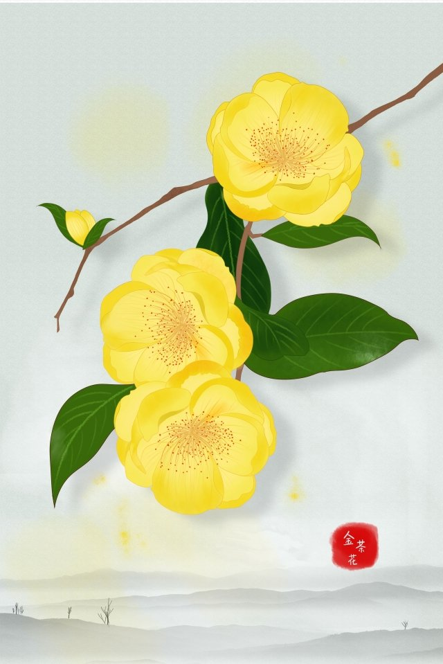 flowers plant illustration camellia, Chinese Style, Meticulous, Ink illustration image