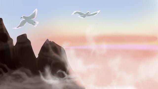 terbang burung jauh awan awan gunung imej keterlaluan imej ilustrasi