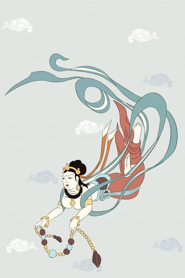 비행 벽화 dunhuang mogao grottoes 삽화 이미지