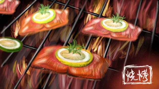 food barbecue meat lemon, Leaf, Fire, Hand Painted illustration image