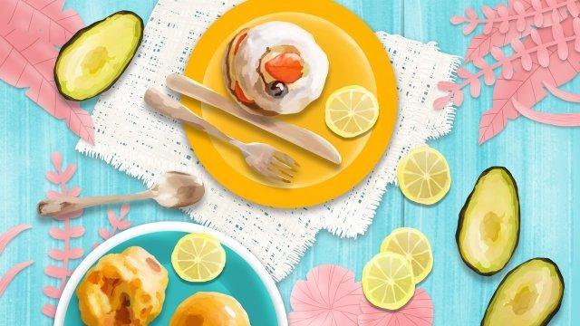 食品朝食小さなケーキパン イラスト素材