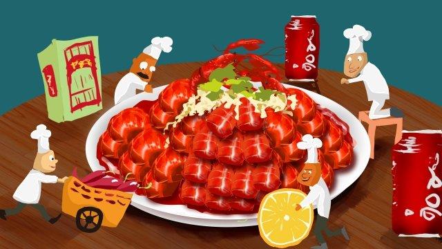 음식 왕새우 배너 음식 삽화 소재 삽화 이미지