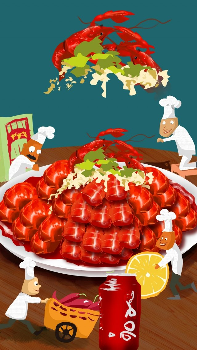 음식 왕새우 배너 음식 그림 이미지 일러스트레이션 이미지