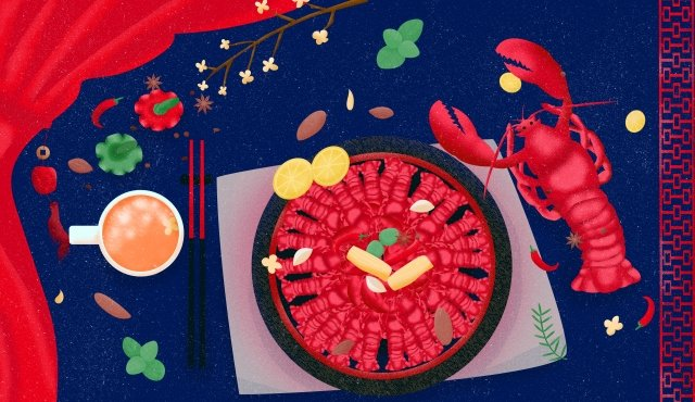 음식 가재 랍스터 향신료 삽화 소재 삽화 이미지