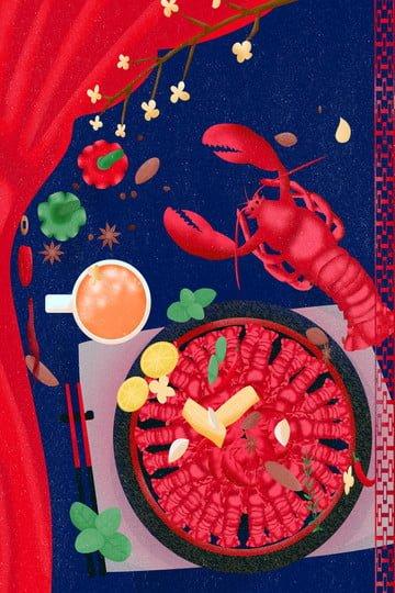 음식 가재 랍스터 향신료 삽화 소재