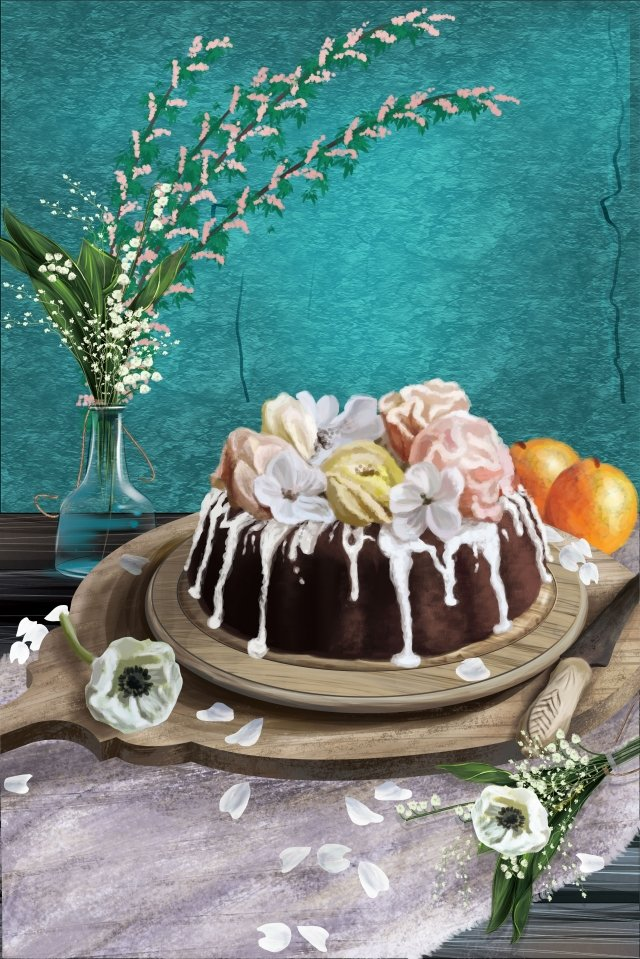 food dessert flowers chocolate cake, Illustration, Flower Cake, Fruit illustration image