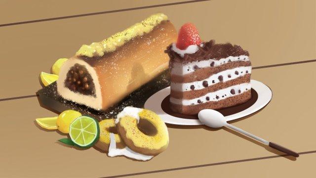 食品甜點水果蛋糕 插畫素材
