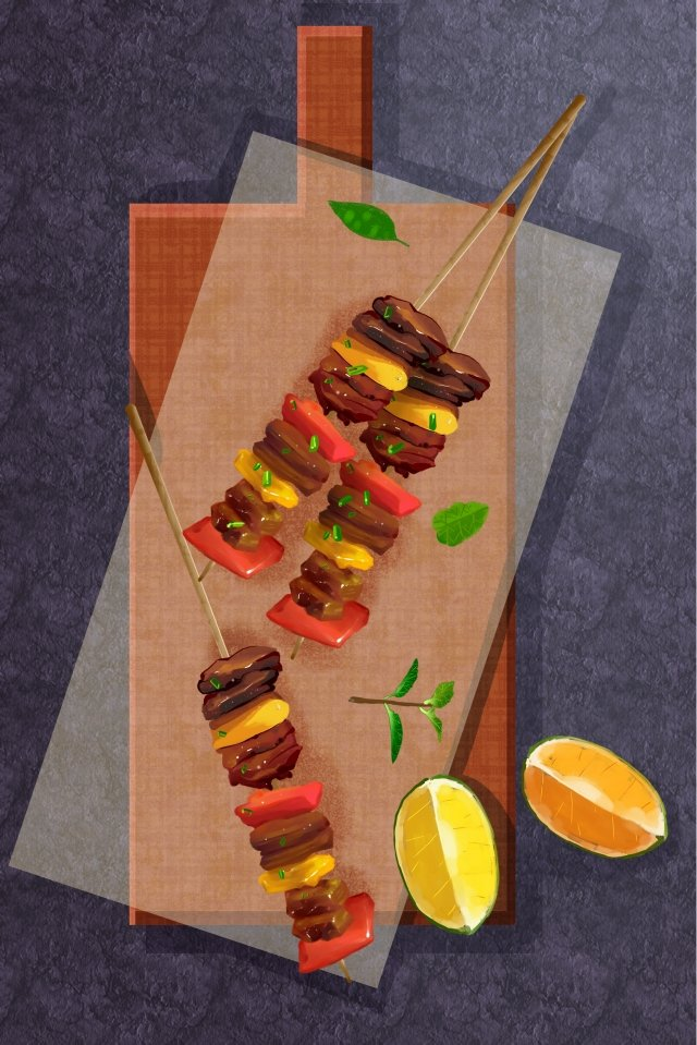 food fast food skewers lemon, Dining Table, Napkin, Food illustration image