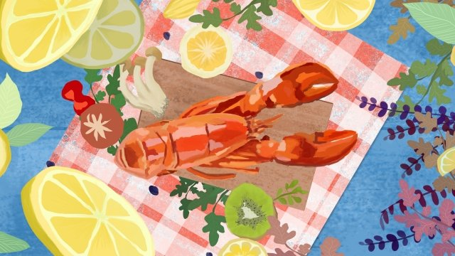 food food crayfish illustration, Ingredients, Lemon, Tableware illustration image
