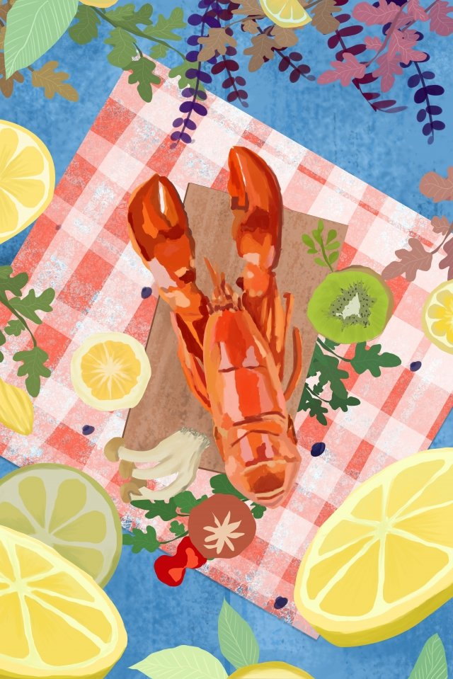 food food crayfish illustration, Lemon, Ingredients, Shrimp illustration image