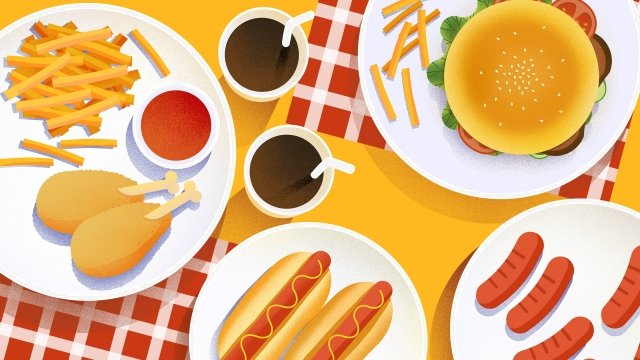 food food cuisine illustration, Burger, French Fries, Fast Food illustration image