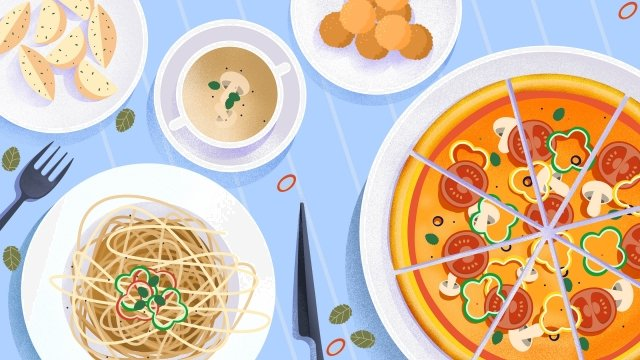 food food cuisine illustration, Hand Painted, Italy, Spaghetti illustration image
