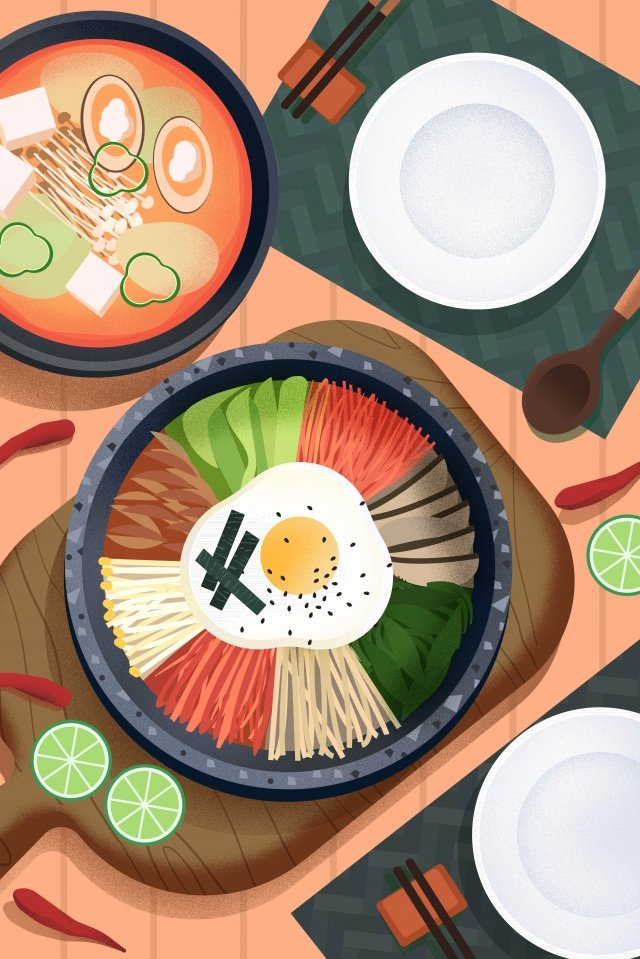 food food cuisine illustration, Bibimbap, Korea, Asian Cuisine illustration image