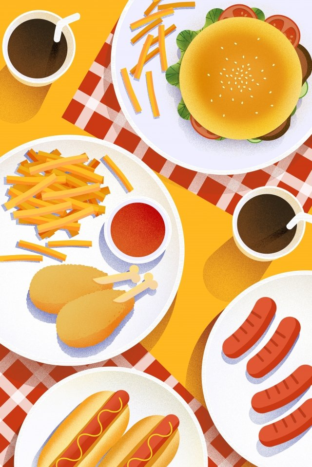 food food cuisine illustration, Hand Painted, American, Burger illustration image