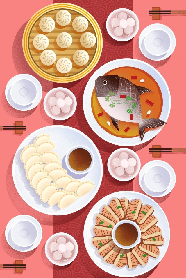 food food cuisine illustration, Chinese Cuisine, Reunion Dinner, Dumplings illustration image