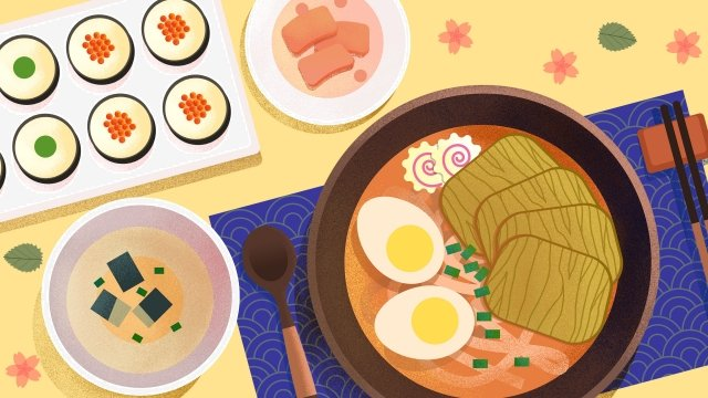 food food illustration hand painted, Japanese-style, Japan, Hand-pulled Noodle illustration image