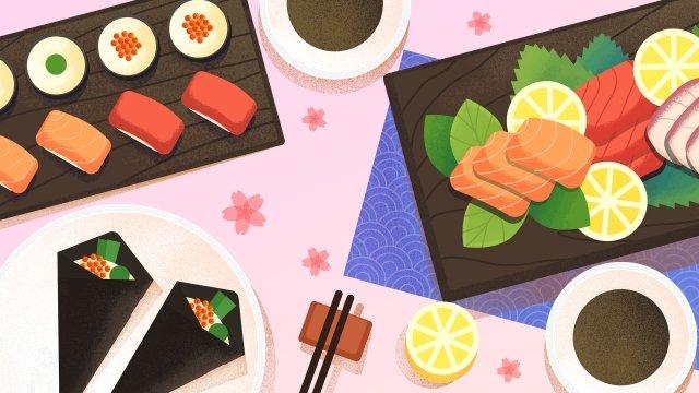 food food illustration hand painted, Japanese-style, Japan, Sushi illustration image