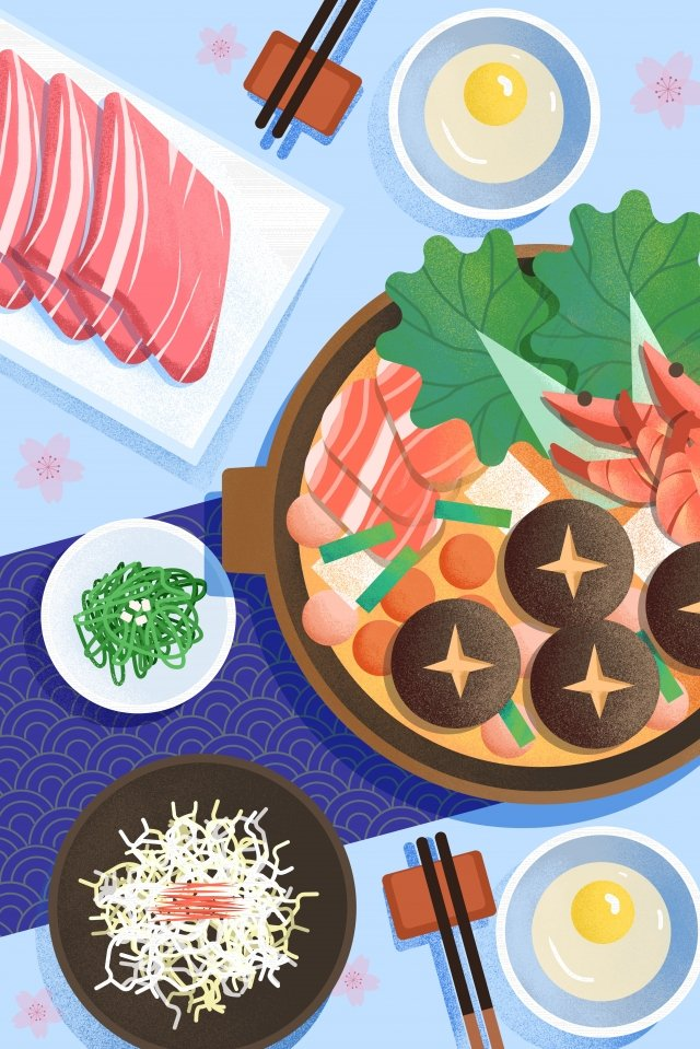 food food illustration hand painted, Japanese-style, Japan, Shouxi Pot illustration image