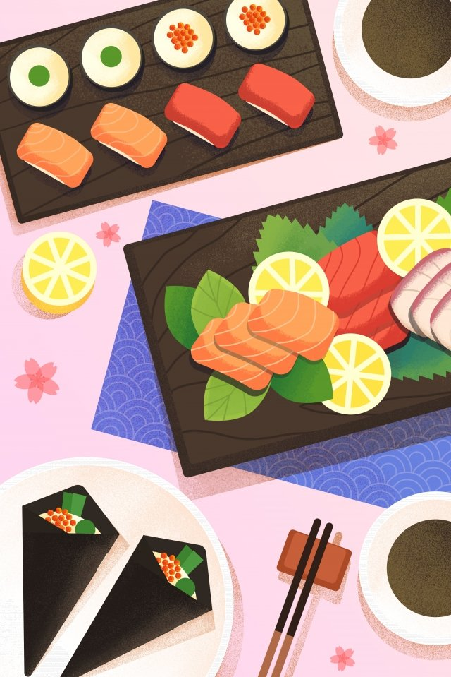 food food illustration hand painted, Japanese-style, Japan, Sushi illustration image