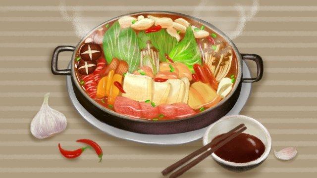 음식 마늘 칠리 야채 삽화 소재
