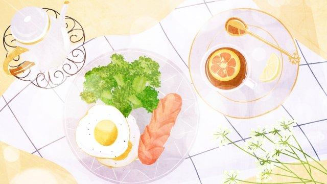 food hand painted illustration breakfast, Afternoon Tea, Egg, Lemon illustration image