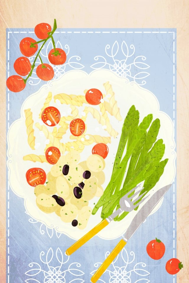 food hand painted illustration breakfast, Afternoon Tea, Asparagus, Pasta illustration image