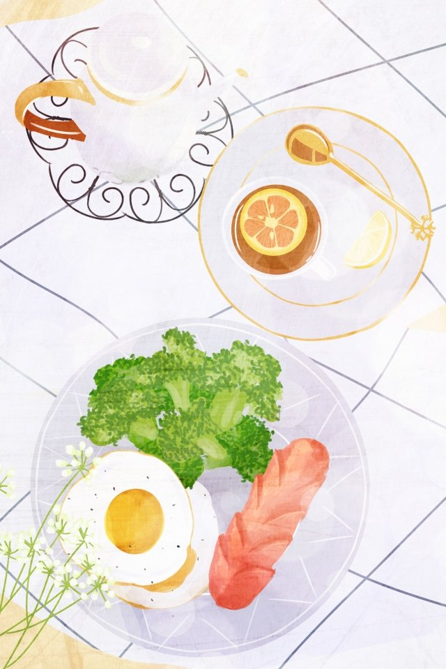 food hand painted illustration breakfast, Afternoon Tea, Egg, Sausage illustration image