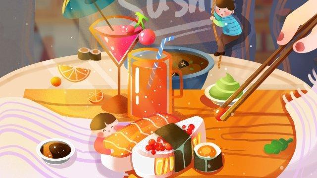 食品手描きの寿司フルーツジュース イラスト素材 イラスト画像