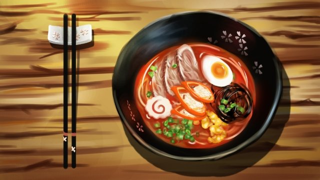 food hand-pulled noodle hand painted realistic, Japanese-style, Delicious, Food illustration image