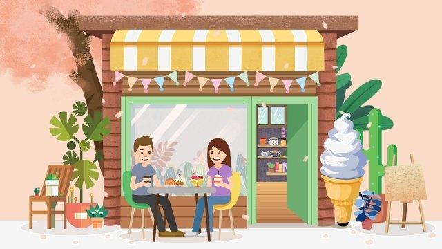 sorvete de comida sorvete loja de sobremesa Material de ilustração Imagens de ilustração