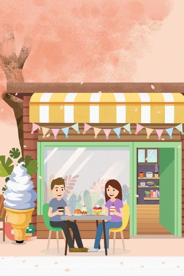 食品アイスクリームアイスクリームデザートショップ イラスト画像