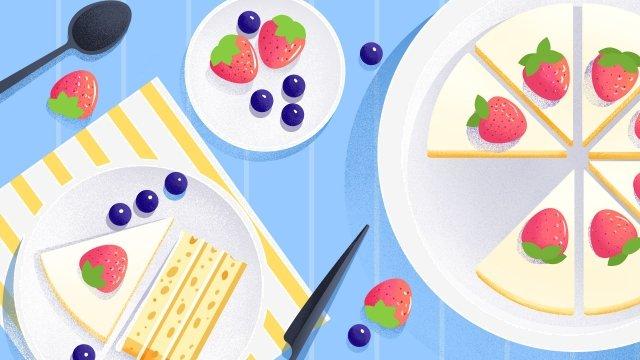 food illustration hand painted food, Western Style, Dessert, Cake illustration image