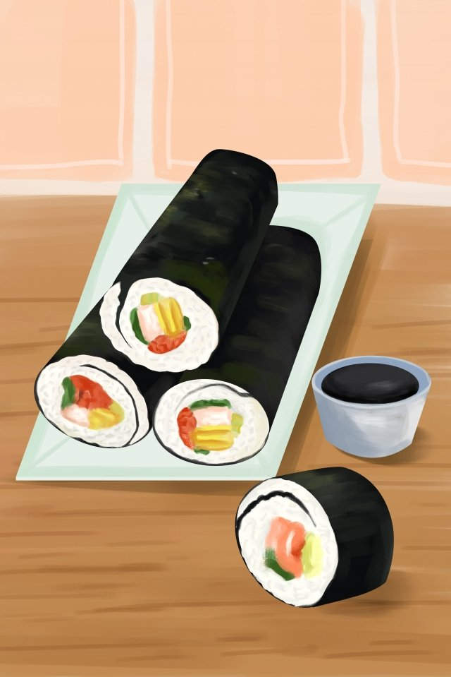 food illustration hand painted sushi, Cartoon, Illustration, Food illustration image